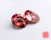 Swarovski 1122 14mm Rivoli, Rose Peach, Bold Primary Color, Faceted Crystal Stone No Hole Beading Supply, Salmon Pink Orange, 2 pack