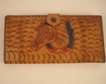 Vintage Hand Tooled Wallet Colorful Horse Flowers