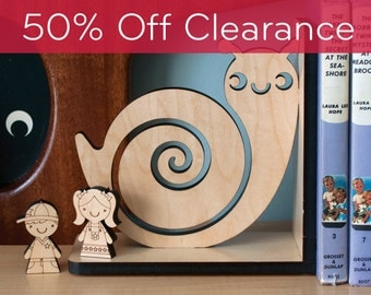 SALE! CLEARANCE 50% OFF! Snail Wood Bookend- Baby Animal Bookend Modern Nursery Decor