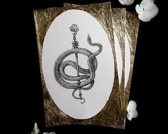 The Triumphant - Serpent Coil - Fine Art Print Gold Leaf Embellished Snake Print w/ FREE shipping