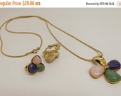 HolidaySale Vintage 1970s Avon Flower Pink Blue Green Cabochon Pendant Necklace Matching Clip On Earrings Signed Avon