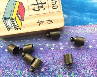 50pcs 10x6mm(hole 5.5mm) antiqued bronze metal tassel caps/cord ends/cord findings