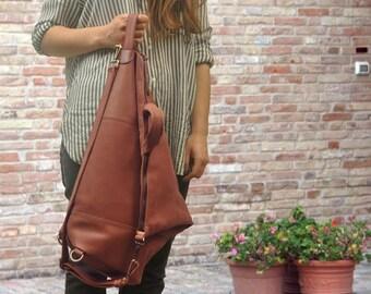 Handmade convertible backpack in cinnamon tabac Italian leather ,named Eleanna