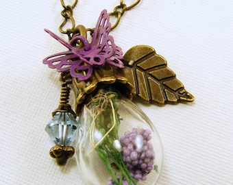 Antique Brass Egg Plant Bottle Pendant with Purple and Green Dried Flowers Pendant Necklace