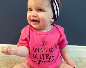 On Wednesdays We Wear Pink Onesie. Funny Baby Onesie. Free Shipping! Creeper. Baby Shower Gift. Chubby Baby Shirt. Mean Girls. So Fetch Pink