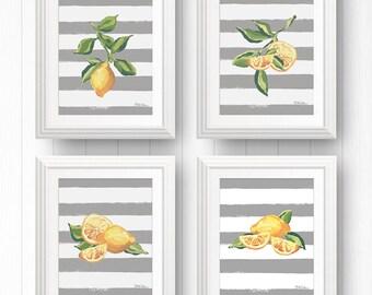 Lemon Wall Art Bundle, Lemon Art Print Set, Lemon Illustration, Citrus Fruit Print, Fruit Wall Print, Lemon Kitchen Decor, Picture Of Lemon