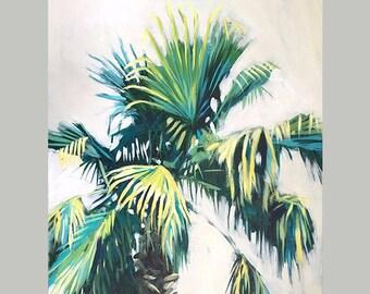 Tropical Rain Forest Leaf Art, Original Tropical Leaf Prints, Tropical Wall Decor, Fern Leaves Art, Beach House Decor, Palm Tree Painting