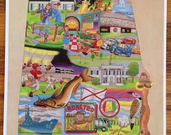 The Who, What and Where of Alabama postcards pack of 10 signed by artist