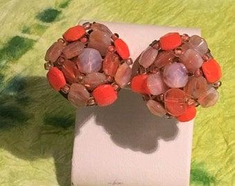Retro orange and translucent glass beaded clip earrings