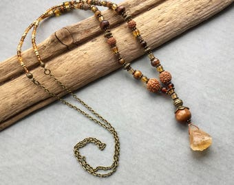Raw Citrine Stone Drop Beaded Necklace