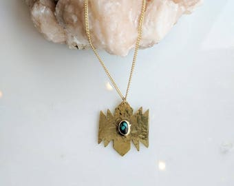Turquoise and Brass Necklace - turquoise necklace - boho necklace - southwest necklace - southwestern jewelry - handmade necklace - boho