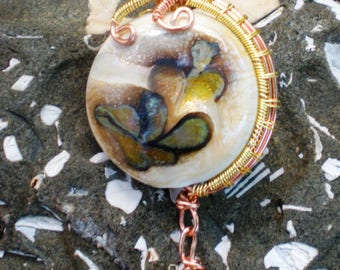 Handmade Ivory Glass Pendant Wrapped in Copper and Gold Wire