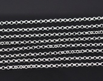 10M (32.8 Ft) - Silver Plated Plated Rolo Link-Opened Chain - 2.5mm Links