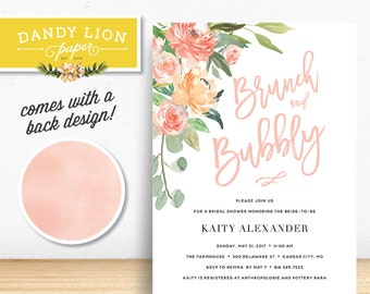 Brunch & Bubbly Floral Bridal Shower Brunch Invitation - DIY Printable