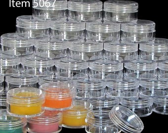 50 Lip Balm Containers Plastic Cosmetic Jars - 10 Gram (Clear Lids) 5067-50   FREE US shipping