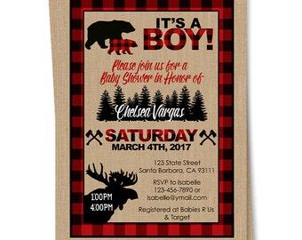 Lumberjack Baby Shower Invitation- Hunter, Wood, Bear, Moose- Buffalo Plaid- Moose- Hatchet- Rustic Look