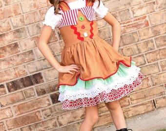 Girls Gingerbread Dress, Christmas Dress, Girls Christmas Dress, Pageant Dress, Toddler Dress, Girls Dress, Holiday Dress, Christmas, Dress