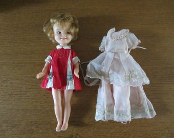 "Deluxe Reading 8"" Penny Brite doll in original dress with pink flower girl gown 1960s"