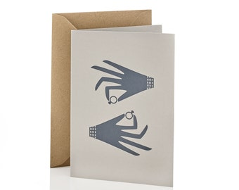 Hand Screen Printed Five Gold Rings Christmas and Holiday Card