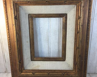 Vintage Wooden Gold and Linen Picture Frame