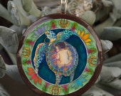 Precious Human Birth Art Pendant - baby shower, midwife, doula, motherhood, goddess