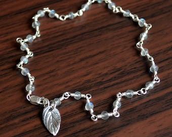 Labradorite Anklet, Sterling Silver Anklet, Labradorite Jewelry, Gold Jewelry, Silver Jewelry, Gemstone Anklet