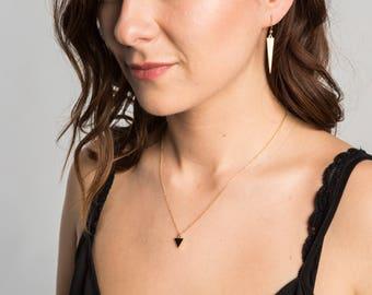 Tiny Black Triangle Necklace 14kt Gold // Geometric Jewelry // Simple Everyday Jewelry // Black Onyx Triangle