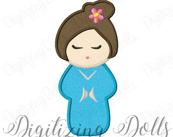 Kokeshi Doll Applique Machine Embroidery Design 4x4 5x7 6x10 Japanese Doll INSTANT DOWNLOAD