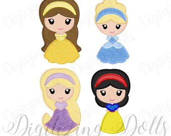 Princess Appliques Set - Snow White Cinderella Belle Rapunzel  Machine Embroidery Design 4x4 5x7 6x10 INSTANT DOWNLOAD
