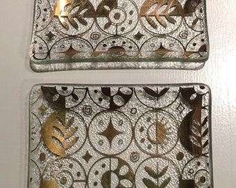 Gilded Glass 4 Inch Square Plate Set/Jewelry Trays/Ashtrays