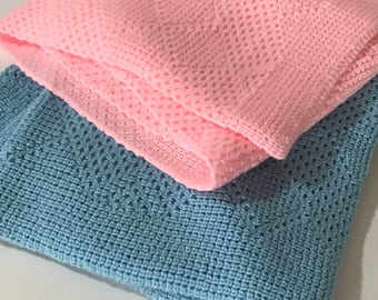 Knitted Baby Afghan/Throw, Light Blue, Light Pink