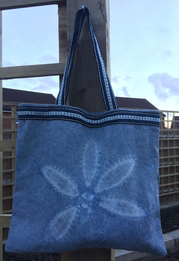Shibori Indigo Market Bag cotton reusable hand dyed tote shopping grocery beach eco handwoven band market boho vegan tie dye