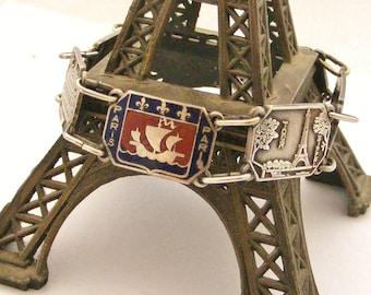 Vintage French Paris souvenir bracelet in silver plate and enamel 8 inches long