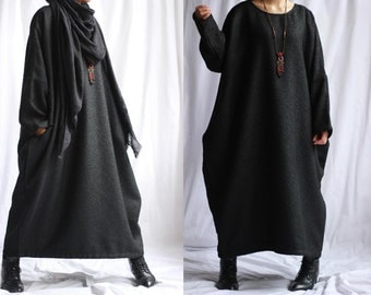 Free Style Heavy Linen/ Cotton/ Long Dress /Asian Style/Cocoon Shape/ 17 Colors/ RAMIES