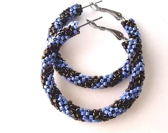 Khaki and blue hoop earrings   woven beaded hoops   brown and blue beaded jewelry   glass beaded earrings