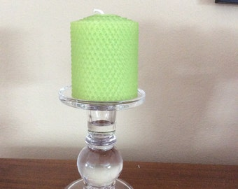 Lime Green Beeswax Candle, Beeswax Candle, Unscented Beeswax Candle, Green Beeswax Candle, Unscented Candle, Honeycomb Beeswax Candle