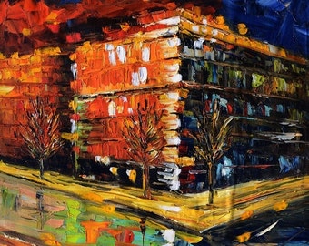 70%Off & Free Shipping Original painting Oil Painitng Cityscape painting impasto palette Knife Colorful painitng orange night ready to hang