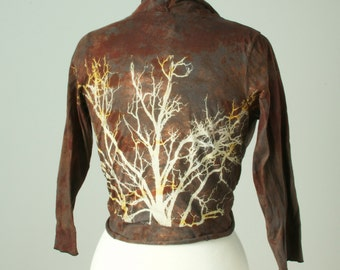 small hand dyed and printed tree wrap top jacket in espresso marsala cotton knit