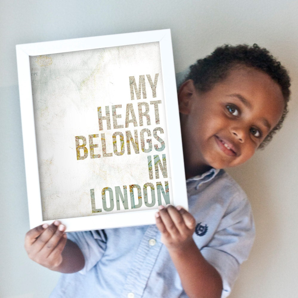 """Custom """"My Heart Belongs In..."""" art print with your choice of vintage map background"""