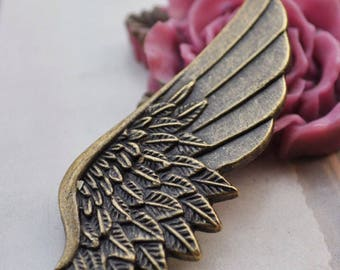 Wing, wing pendant, pendant, large wing necklace, wing charms, 10pc antique bronze Huge Wing pendants 22x56mm