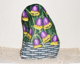 Purple and Yellow CHAPEL BELLS FLORAL Basket ! Painted Rock