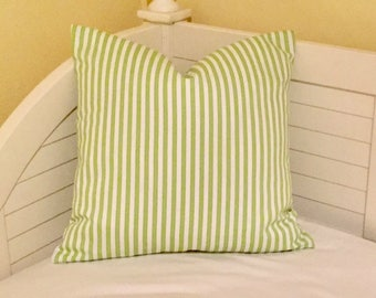 Green and White Stripe (on Both Sides) Indoor Outdoor Pillow Cover - Square, Euro and Lumbar Sizes