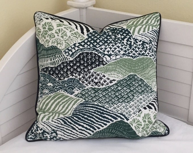 Robert Allen Madcap Cottage Windsor Park in Palm Designer Pillow Cover  with Navy Piping - Square, Euro, Lumbar and Body Pillow Sizes