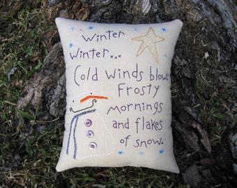 FAAPCIJ, Happy Snowman Pillow, Whimsical Decor, Primitive Embroidery, Hand Stitchery, Winter Snow Flakes poem, Purple, poetry, polka dots