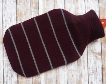 100% Cashmere Hot Water Bottle Cover - Upcycled Sweater - Maroon Stripes - Cozy Eco Friendly Sleeve