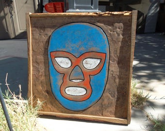 Large wooden Luchador Mask wall art