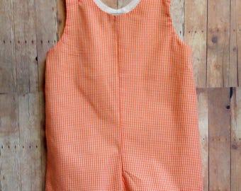 Baby Boy Orange Gingham Romper Jonjon Shortall size 12 Months