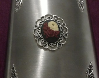 Maroon Death & Roses 8 oz Stainless Steel flask Liquor Flask Victorian Gothic Hip flask