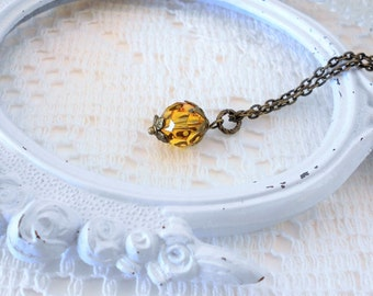 Swarovski Crystal Necklace, Sunflower Necklace, Layering Necklace, Yellow Necklace, Vintage Style, Vintage Inspired Necklace, Small Pendant