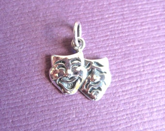 Sterling Silver Happy and Sad Theater Mask Pendant Charm